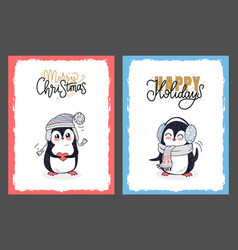 merry christmas and happy holidays with penguins vector image