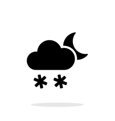 Night snowfall weather icon on white background vector image