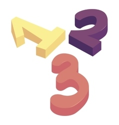 One two three numbers icon cartoon style vector