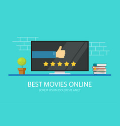 online cinema review on tv or movie feedback vector image