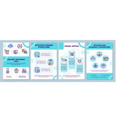 Online teaching tips brochure template vector