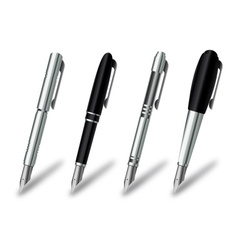 Pen set on a white background vector image