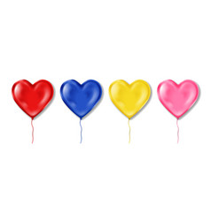 realistic colorful heart shaped balloons set vector image