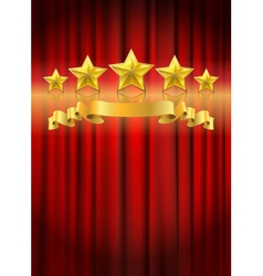 red curtain gold star vector image