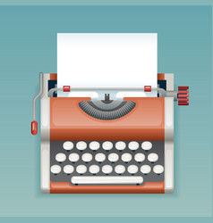 retro vintage manual typewriter with blank paper vector image
