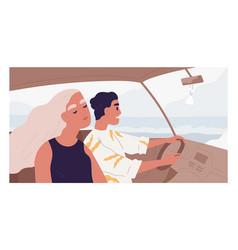 romantic couple happy people inside car vector image