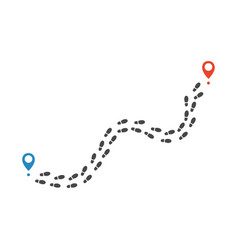 route of human shoe track monochrome silhouette vector image