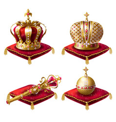 Royal crowns scepter and orb realistic set vector