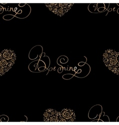 Seamless pattern with golden hearts and lettering vector