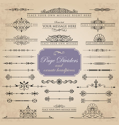 Set of page dividers and ornate headpieces vector
