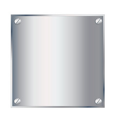 silver metal podium plate with screws isolated on vector image