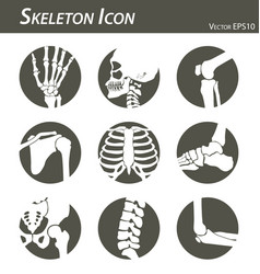 skeleton icon black and white flat design vector image