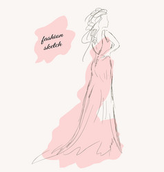 Sketch of a girl in a beautiful dress vector