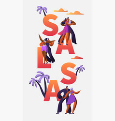slasa festival character dance typography banner vector image