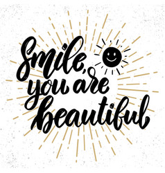 smile you are beautiful lettering motivation vector image