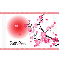 south korea lettering with beautiful blossom of vector image