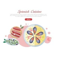 Spanish Cuisine Web Banner Paella Jamon Tapas vector image