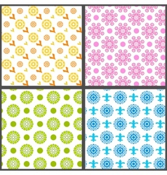 spring abstract floral seamless patterns vector image