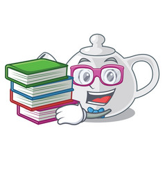 Student with book teapot porcelain in a shape vector