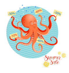 summer sales poster with octopus vector image vector image