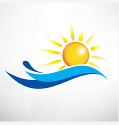 sun and water wave symbol vector image