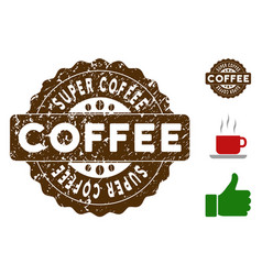 Super coffee award stamp with dust effect vector