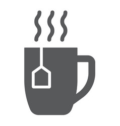 Tea cup glyph icon drink and beverage vector