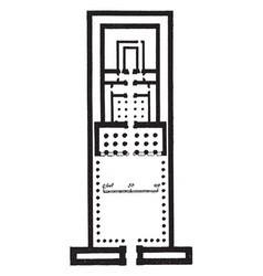 Temple of edfu plan ancient egyptian temple vector