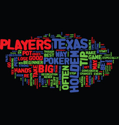 Texas hold em tips text background word cloud vector