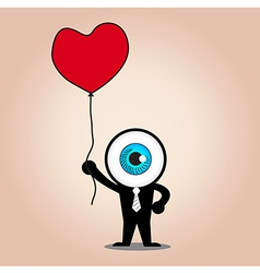 The blue eye hold red heart balloon vector