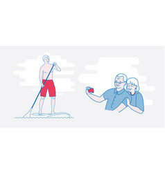 The old man stand up paddling vector