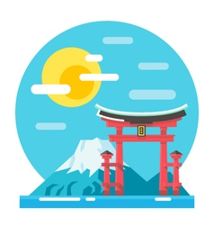 Torii shrine flat design landmark vector