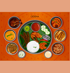 traditional cuisine and food meal thali of odisha vector image