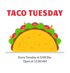 traditional mexican fastfood taco tuesday poster vector image