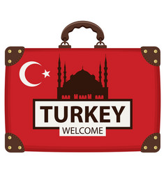 travel bag with turkish flag and the hagia sophia vector image