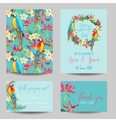 Tropical Flowers and Birds - for Wedding vector