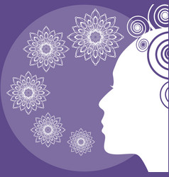 ultraviolet background with lady face silhouette vector image