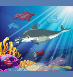 underwater scene with dolphin and plastic bags vector image