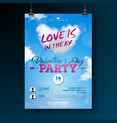 Valentines day party flyer design with typography vector