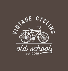 vintage cycling logo design inspiration vector image