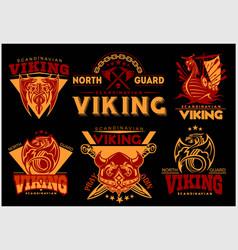 Vintage viking emblems set with scandinavian vector
