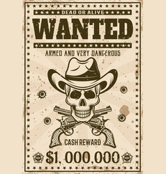 Wanted vintage western poster with cowboy skull vector