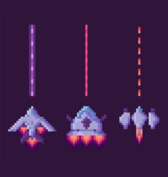 War spaceship pixel cosmic equipment vector
