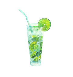 watercolor classical mojito cocktail vector image