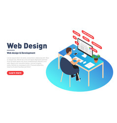 Web design and development concept web designer vector