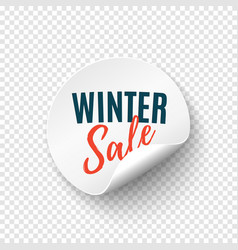 winter sale round banner price tag template vector image
