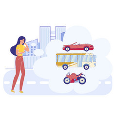 Woman make decision what transport choose in city vector