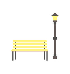 wooden bench and lantern vector image