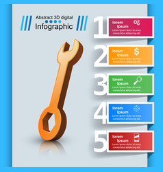 wrench template bussines infographic vector image