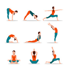 Yoga collection poses vector